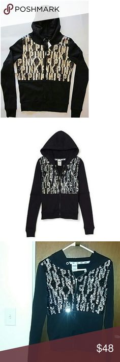 RARE & sold out PINK zip hoodie Victoria's Secret PINK bling fashion show full zip hoodie. Black w/ silver & black sequins. Lightweight Slimfit S/P Victoria's Secret Tops Sweatshirts & Hoodies