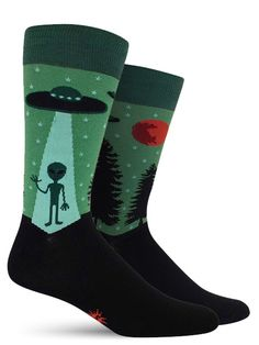 We think this cool pair of alien abduction socks would go very well with your tinfoil hat for the days you are carving those crop circles. Make it known you are a true believer by wearing these unique