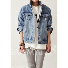 $15.46 Turn-Down Collar Long Sleeves Denim Single-Breasted Fashionable Style Jacket For Women