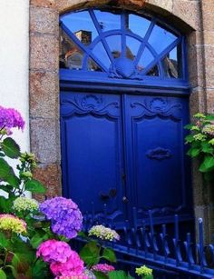 beautiful blue door! & hydrangeas!