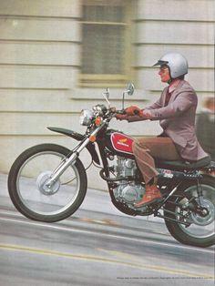 Honda Road Bike 1975 Ad via Classic Honda Motorcycles, Buell Motorcycles, Honda Bikes, Kawasaki Motorcycles, Honda Cb, Vintage Motorcycles, Excelsior Motorcycle, Motorcycle Images, Suzuki Motorcycle