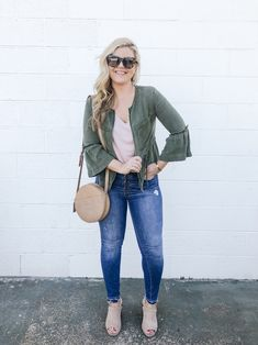 ShopStyle Look by cristincooper featuring V-Neck Drapey Tee and LOFT Hoop Pull Through Earrings Autumn Fashion Casual, Casual Fall, Heels Outfits, Cool Outfits, Size 16 Fashion, Daily Look, Latest Trends, Mom Jeans, Sexy Women