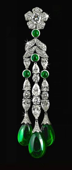 Colombian Cabochon Emerald Drop Earring With White Diamonds.