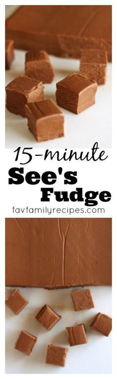 15-Minute See's Fudge Recipe via Favorite Family Recipes - From an actual worker at See's back in the day. Her go-to fudge recipe every time. Never grainy, always perfect.