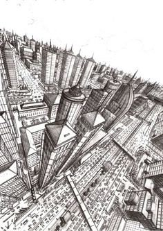 Here you can see a city which is viewed from high above the ground, it's a two perspective drawing.