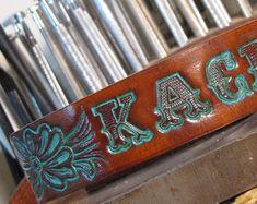 Collier de chien w Turquoise usiné (collier de chien Western,, collier de chien en cuir repoussé,, personnalisé collier de chien) The Diamond Dogs en cuir