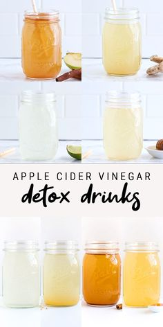 Healthy Juice Recipes 367465650851004247 - 4 Healthy Apple Cider Vinegar Detox Drink Recipes you'll actually enjoy drinking! Four flavors including: Limeade, Ginger Spice, Honey Cayenne and Apple Pie. Healthy Juice Recipes, Healthy Juices, Detox Recipes, Healthy Drinks, Drink Recipes, Healthy Nutrition, Easy Recipes, Smoothie Detox, Smoothies