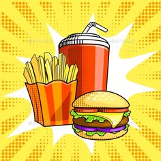 Fast food pop art style. Burger with french fries and drink. Hand drawn comic book imitation vector illustration