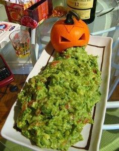 The Puking Pumpkin,guacamole dip. And serve with blue tortilla chips.