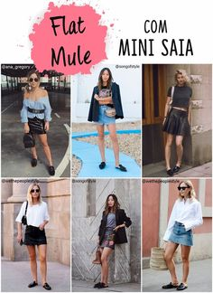 Flat mule com mini saia
