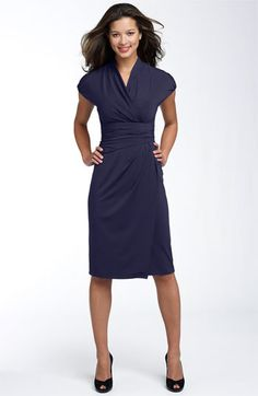 Deep purple knee length business professional dress.