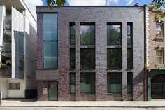 Image 1 of 17 from gallery of 63 Compton / Doone Silver Architects. Photograph by Matt Bargery Brick Architecture, London Architecture, Architecture Details, Compton Street, Glazed Brick, Modern Townhouse, Mix Use Building, Brick Facade, Building Facade