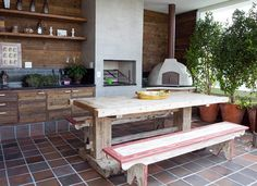 Like the fireplace Outdoor Tables, Outdoor Decor, Wood Fired Oven, Bbq Area, Summer Kitchen, Patio, Four, Home Renovation, Barbecue