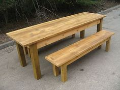 kitchen tables with benches | Waxed Farmhouse Kitchen Dining Table & benches square legs ( antique ...