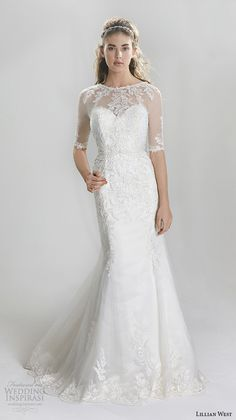 Lillian West Spring 2016 Wedding Dresses   Wedding Inspirasi   Lace & Lace Appliquéd Trumpet Silhouette Wedding Gown Featuring Sheer Half Length Sleeves, Neckline & Back, Tulle Overlay, Scalloped Lace Hemline & Court Length Train·····