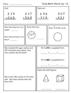 math worksheet : 1000 images about 2nd grade math on pinterest  place values  : Math Warm Up Worksheets