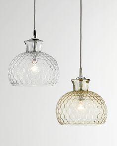 """Handcrafted pendant light. Made of honeycomb-patterned glass. Used one 40-watt bulb. 5""""Dia. ceiling canopy included. Direct wire; professional installation required. 10""""Dia. x 10""""T with 8'L cord. Impo"""
