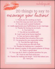 20 Things to say to encourage your husband -is downloadable