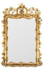 Isabella II mirror with frame in gilded carved wood and stucco, third quarter of the 19th century
