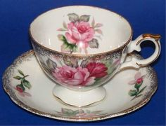 Porcelain China Tea Cup & Saucer Red Pink Peonies Gold Lustre