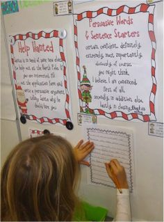 Using elf applications and sparkle gems to spark student motivation to write. Anchor chart for persuasive writing words and sentence starters - and they used it!!