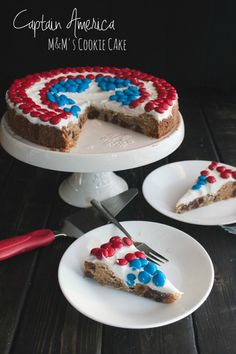 Captain America themed M&M®'s Chocolate Chip Cookie Cake