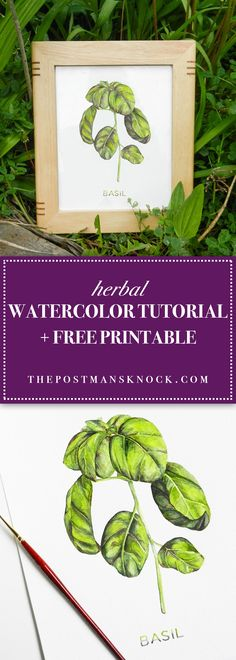 If you're looking to make the best gift ever ... well, look no farther than this watercolor tutorial over painting herbs. Includes a free basil printable!