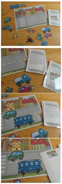 Ein Lese-Legespiel zum sinnerfassenden Lesen. Die Fahrzeuge werden nach Anweisung auf dem Straßenbild platziert. Das Bildmaterial stammt von passengerz - Fotolia.com. Vor dem Laminieren die