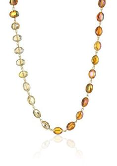 """Kenneth Cole New York """"Modern Sunset"""" Multi-Faceted Bead Long Necklace Kenneth Cole New York. $55.00. Items that are handmade may vary in size, shape and color. Orange multi-faceted bead long necklace with gold tone details. Orange multi-faceted bead long necklace with gold tone details Made in CN. Made in China"""