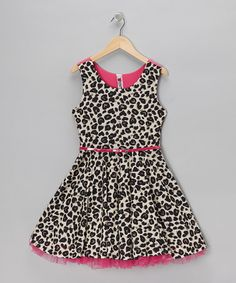 Take a look at this Sand Leopard Belted A-Line Dress by Beautees on #zulily today!