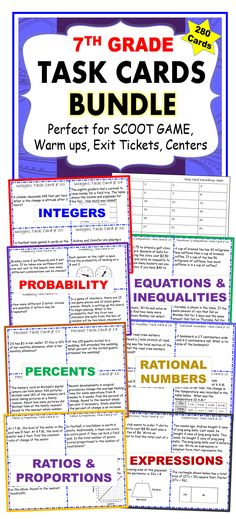 7th Grade Task Cards BUNDLE Common Core {280 Cards}. I use these task cards with my students to help them practice PROBLEMS SOLVING. This resource includes 280 task cards (7 sets/40 cards per set), student answer sheets, and answer keys. Your students will love working with these task cards. These TASK CARDS are perfect for reinforcing concepts through individual student practice, pair-share, early finishers, and assessment prep.