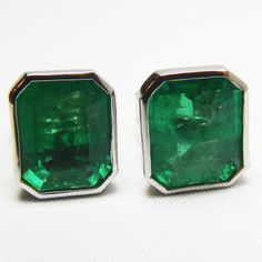 4.60ct AAA+Green Color Natural Emerald Stud Earrings 18k White Gold~one Of Akind