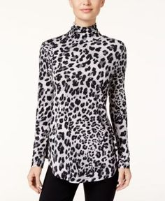 Jm Collection Petite Animal-Print Turtleneck Top, Created for Macy's - Gray P/XL