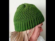 Gorro de crochet simples, fácil e bonito em ponto alpino. - YouTube Knitted Hats, Beanie, Cap, Knitting, Youtube, Blog, Fashion, Simple, Diy