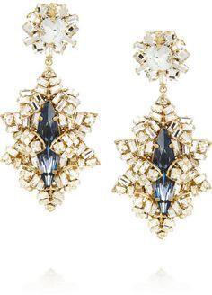 #jewelry  Bijoux Heart Gold-plated Swarovski crystal drop earrings