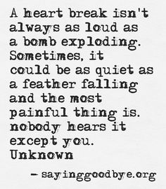 """A heart break isn't always as loud as a bomb exploding. Sometimes, it could be as quiet as a feather falling and the most painful thing is nobody hears it except you."""