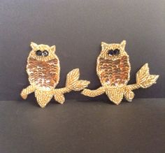 Vintage Gold Sequined Owl Patches / by GirlySuppliesDeJaVu on Etsy, $5.50