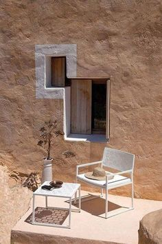 Designed by Jose Manuel Ferrero, the Japan Collection for POINT is made of stainless steel and pained various colors. Architecture Details, Interior Architecture, Exterior Design, Interior And Exterior, Estilo Interior, Modern Rustic Homes, Windows, Stone Houses, Outdoor Settings