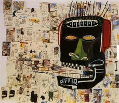 thesavagesgallery:    Jean-Michel Basquiat(1960-1988)  Glenn, 1984. Acrylic and crayon on wood, 254 x 289.6cm.  Private collection.