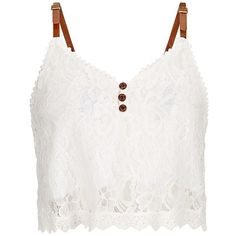 Parisian White Buckle Strap Lace Button Front Crop Top ($9.23) ❤ liked on Polyvore featuring tops, blusas, crop tops, shirts, tank tops, white crop shirt, white top, white crop top, v neck tops and v neck shirt