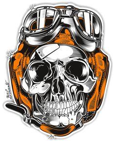 #Skull & Pistons - Harley Davidson - US by DAVID VICENTE, via Behance