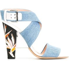 Fendi denim sandals (30,175 THB) ❤ liked on Polyvore featuring shoes, sandals, heels, blue, chunky heel sandals, blue sandals, denim shoes, chunky heel shoes and multi colored sandals