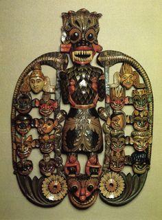 Maru Raksha mask Sri Lanka. Early 20th century Wood, carved and painted