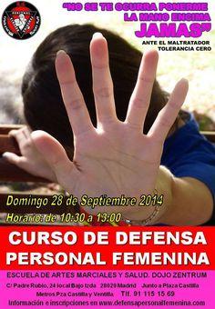 Curso de Defensa Personal Femenina en septiembre de 2014 en Madrid