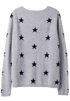Grey Star Print Long Sleeve Pullover