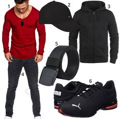 Schwarz-Rotes Herrenoutfit mit Shirt und Cap (m1012) #longsleeve #puma #cap #shirt #hoodie #rot #schwarz #outfit #style #herrenmode #männermode #fashion #menswear #herren #männer #mode #menstyle #mensfashion #menswear #inspiration #cloth #ootd #herrenoutfit #männeroutfit