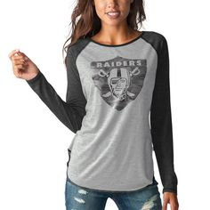 Oakland Raiders Touch by Alyssa Milano Women's Line Drive Long Sleeve Raglan T-Shirt - Heathered Gray/Black - $29.99