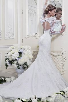 2015 Elegant Mermaid Wedding Dresses Long Sleeve Appliques Lace Sheer Neck Backless Beach Bridal Gowns Chapel Train Lace Wedding Dress Cheap 2015 Wedding Gowns Affordable Wedding Dress From Jovancy, $136.65| Dhgate.Com