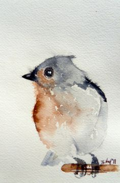Tufted Titmouse / Original watercolor art 2011 / 5''x7'' inch original on Fabriano watercolor paper. {etsy, zuhalkanar} 30.00 USD