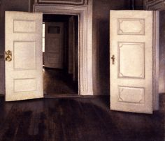 Vilhelm Hammershoi May 1864 – 13 February was a Danish painter. He is known for his poetic, low-key portraits and interiors. Low Key Portraits, Art Carte, Art Society, Empty Room, White Doors, Painted Doors, Painting & Drawing, Painting Canvas, Interior And Exterior